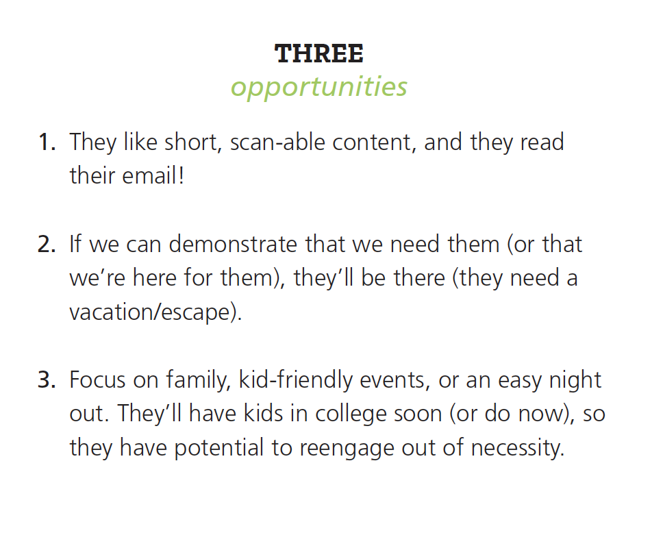 Three opportunities include: short, scan-able content, in need of escape, and focus on family events.