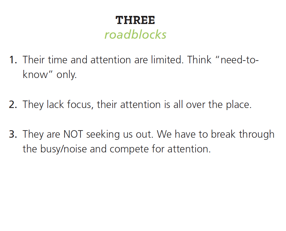 Three roadblocks include: limited time and attention, lack of focus, and busy lives.